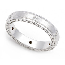 Pav' set Diamond Semi Eternity Heart Edge Ring (1/7 ct.)
