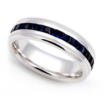 Channel set Blue Sapphire Eternity Milgrain Ring 5.5mm