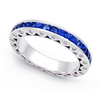Diamond and Blue Sapphire Eternity Ring