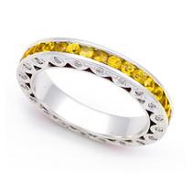 Diamond and Yellow Sapphire Eternity Ring