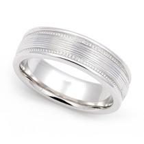 Line finish Milgrain Wedding Ring 6mm