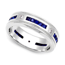 Diamond and Blue Sapphire Milgrain Eternity Ring