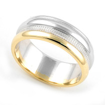 Two Tone Milgrain Wedding Ring 7mm