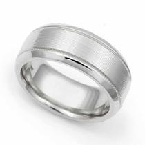 Line finish Milgrain Wedding Ring 8mm
