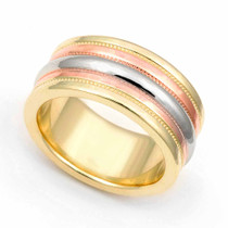 Ridged Three Tone Wedding Ring 9.5mm