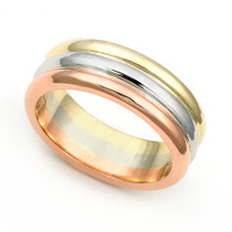 Three Tone Wedding Ring 6.5mm