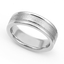 Satin Finish Milgrain Wedding Ring 6mm
