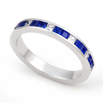 Channel set Diamond and Blue Sapphire Half Eternity Ring (1/4 ct.)