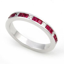 Channel set Diamond and Ruby Half Eternity Ring (1/4 ct.)