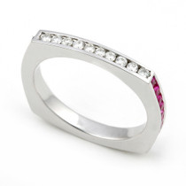 Diamond and Multi Color Sapphire Eternity Ring