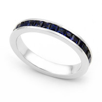Channel set Blue Sapphire Eternity Ring