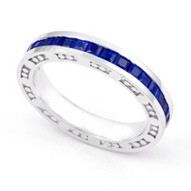 Channel set Blue Sapphire Bubble Edge Eternity Ring