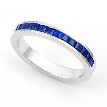 Channel set Blue Sapphire Half Eternity Ring