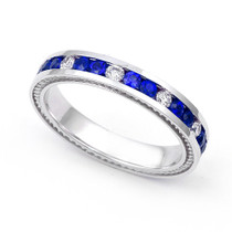 Diamond and Blue Sapphire Semi Eternity Ring