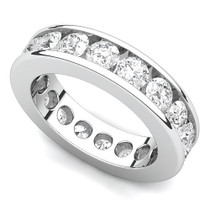 Channel Set Diamond Curved Edge Eternity Ring (3 ct.)