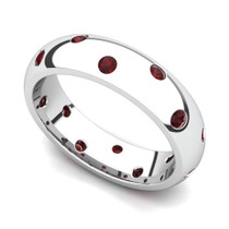 Bezel set Classic Semi Eternity Garnet Ring 5mm