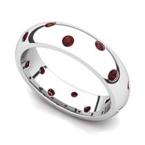 Bezel set Classic Semi Eternity Garnet Ring 5mm