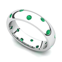 Bezel set Classic Semi Eternity Emerald Ring 5mm