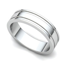 Grooved Wedding Ring 5mm