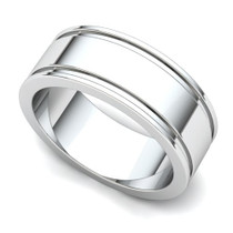 Grooved Wedding Ring 7mm