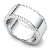 Milgrained Wedding Ring 8mm