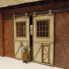 Detailed O scale sliding doors suitable for a large industrial works or On30 loco shed