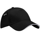Baseball Cap Ultimate Cotton Sandwich Peak - Black/Light Grey