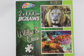 2 X 1000 Piece Wildlife & Ocean Jigsaw Puzzles, African Lion & Giant Turtle