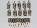 10 x Solid Metal 3 Part Male BNC Crimp Plug for RG59, CCTV with Gold Plated Pin