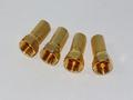 4 x Gold Plated 6.4mm Twist On F Plug Satellite Connector Sky, Virgin RG6, WF100