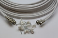 10m Twin White Satellite Shotgun Coax Cable Extension Kit for Sky Plus, Sky HD, Freesat & 10 Special Masonry Cable Clips