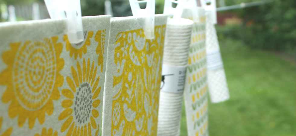 yellow sunflowers sponge cloth