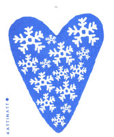 Snowflakes Heart Blue