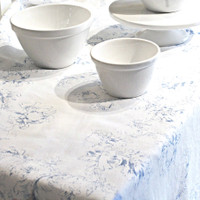 White Linen Tablecloth - Blue Flowers