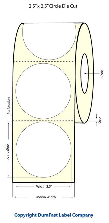 """Epson TM-C3500 2.5"""" Matte Circle Labels"""