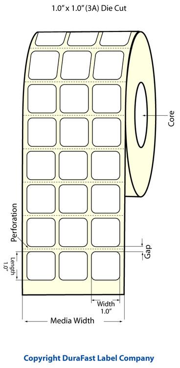 "Epson TM-C3500 1"" x 1"" Matte Polypropylene Labels"