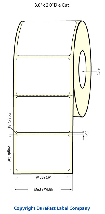 "Epson TM-C3500 3"" x 2"" Matte Polypropylene Labels"