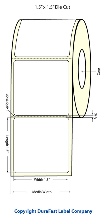 "LX400 1.5""x1.5"" White Glossy Polypropylene (BOPP) Labels"