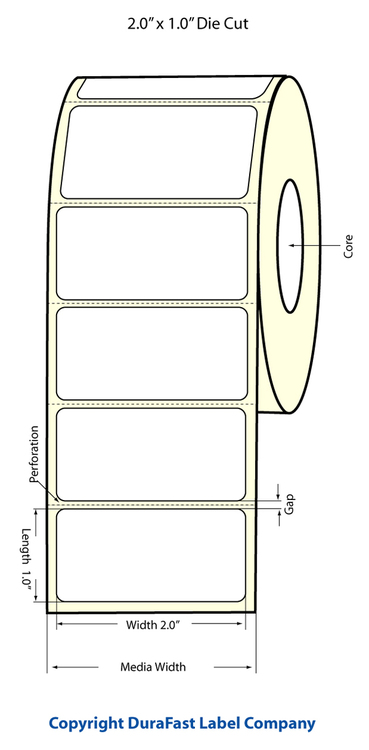 "LX400 2""x1"" White Glossy Polypropylene (BOPP) Labels"