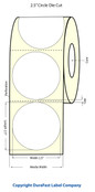 "LX400 2.5"" Circle White Glossy Polypropylene (BOPP) Labels"