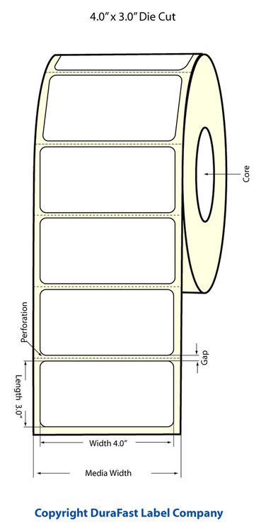 "LX400 4""x3"" White Glossy Polypropylene (BOPP) Labels"