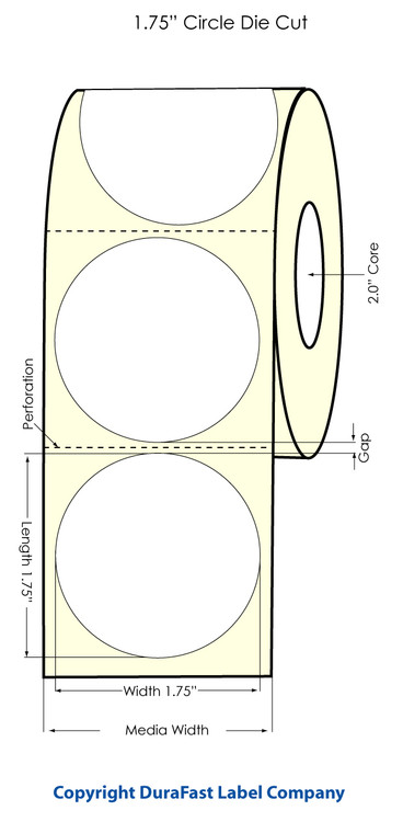 Primera LX400 1.75 inch Circle High-Gloss Labels | 74713
