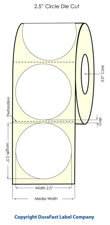 "LX400 2.5"" Circle High Gloss Labels 800/roll - 74707"