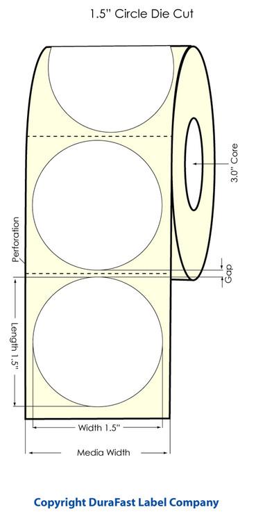 "LX810 LX900 1.5"" Circle White High Gloss Labels 1,600/roll 74853"