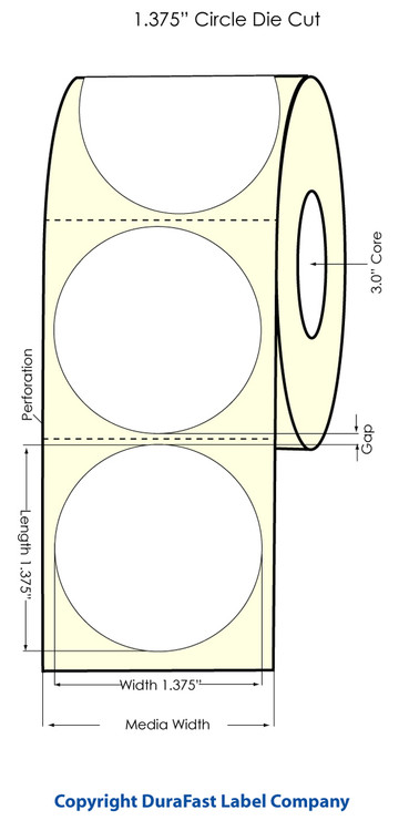 "LX810 1.375"" Circle White High Gloss Labels 1700/roll 74886"
