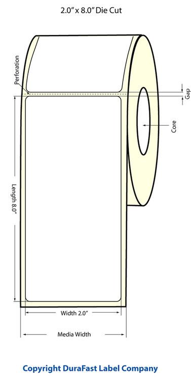 """LX400 2""""x8"""" White Matte Polypropylene Labels 247/Roll - 75896"""