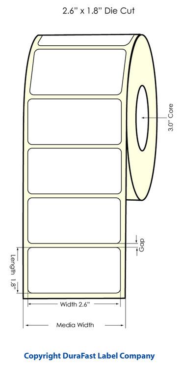 "Primera LX900  LX810 2.6""x1.18"" NP White High Gloss, 1,250 Labels/roll"