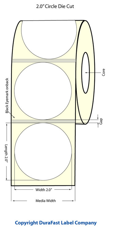 "Primera LX810 | LX900 2"" Circle Glossy Polyproyylene (BOPP) Labels"