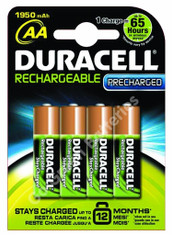 Duracell AA 1950 mAh NiMH Rechargeable Batteries, Stay Charged. 4 Pack (DUR-AA-1950-SCx4)