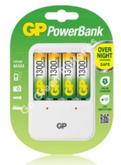 GP PB 420 Battery Charger + 4 x AA 1300 mAh Rechargable Batteries